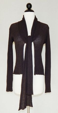 MAX MARA Dark Brown Sheer Lightweight Ribbed Knit Scarf Tie Front Sweater Size S #MaxMara #Cardigan #Work