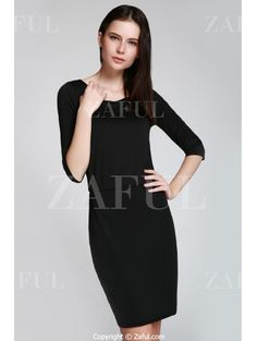 Open Back 3/4 Sleeve Bodycon Dress BLACK: Bodycon Dresses | ZAFUL