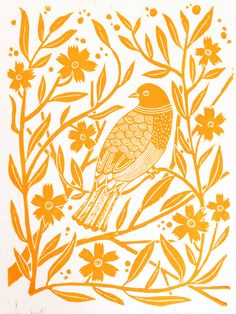 Linocut Block Print - Yellow bird with flowers. $21.00, via Amelia Herbertson on Etsy.