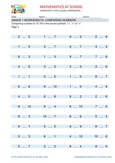 Comparing numbers up to 1st Grade Math Worksheets, Comparing Numbers, Ordering Numbers, Grade 1, Maths, Mathematics, Free Printable, Pdf, School