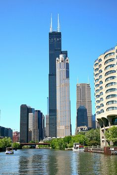 At the time the Sears tower was constructed in 1974, it was the world's tallest building, eclipsing New York's twin-towered World Trade Center by 25 meter (83 ft). It would keep the title of tallest building in the world until the Petronas twin towers in Kuala Lumpur, Malaysia were constructed in 1997.