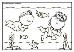 Frokkie en Lola in de onderwaterwereld Frokkie en Lola zwemmen in de zee met een duikbril en zien allemaal hele mooie vissen. Ze zien zelfs een zeester.
