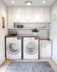 Laundry Room Decals, Laundry Room Layouts, Laundry Room Remodel, Basement Laundry, Farmhouse Laundry Room, Laundry Room Storage, Laundry Room Design, Laundry Shelves, Laundry Organizer