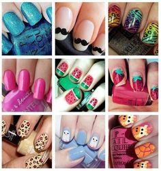 Cute nails, crazy nails, and stylish nails! Crazy Nails, Fancy Nails, Love Nails, How To Do Nails, Pretty Nails, Sexy Nails, Kid Nails, Style Nails, Nail Art Designs
