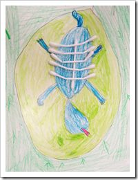 Vertebrate animal art - for animal science unit - Have children draw pictures of vertebrates and invertebrates. Then, use q-tips to depict the backbones. Great visual tool!