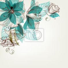 """Wall Mural """"vector, flower, floral - retro flowers vector illustration"""" ✓ Easy Installation ✓ 365 Day Money Back Guarantee ✓ Browse other patterns from this collection!"""