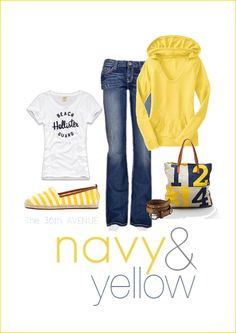 Yellow and Navy. {Link to items on the blog}