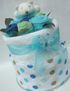 Addictive Gifts Store - Baby Boy Polkadot Nappy Cake, $72.00 (http://www.addictivegifts.com.au/baby-boy-polkadot-nappy-cake/)