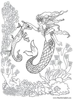 287 Best Mermaid Coloring Pages for Adults images | Adult coloring ...