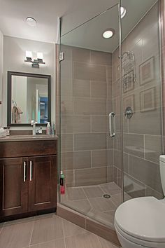 Like the large tile but want half walls on each end for less glass Corner shower elongated, interesting design - custom design idea White Bathroom Tiles, Bathroom Tile Designs, Bathroom Renos, Bathroom Layout, Bathroom Flooring, Small Bathroom, Grey Tiles, Small Bathtub, Tile Layout