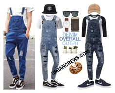 """""""URBANCREWS Mens Denim Overalls Outfit"""" by urbancleo ❤ liked on Polyvore featuring Vans, Stussy, NIKE, Nestlé, Daniel Wellington, Ray-Ban, mens, men, men's wear and mens wear"""