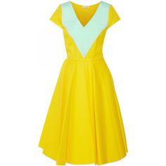 Vionnet - Poplin-trimmed Piqué Midi Dress ($569) ❤ liked on Polyvore featuring dresses, yellow, drapey dress, vionnet dress, drape dress, mid calf dresses and yellow midi dress