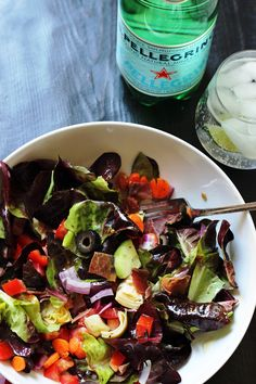 ... Salad loaded with vegetables and topped with crispy prosciutto