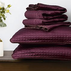 Quilt Set,3 Pieces Plaid Aubergine Polyester – USD $ 34.98