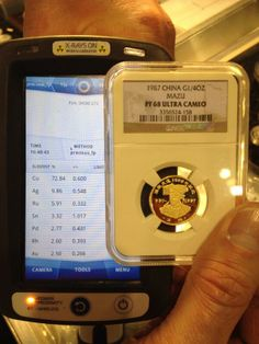 """""""Counterfeit gold coin in a counterfeit NGC slab. This device caught it. this is not good for the hobby! Office Phone, Gold Coins, Landline Phone, Spaces, Fun, Hilarious"""