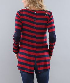 Coco and Main Wine & Navy Stripe Elbow-Patch Button-Back Tunic | zulily