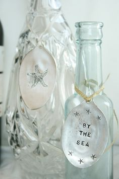 Stamped Silverware Tags with Beach Theme