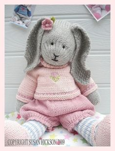 Primrose Rabbit/ Bunny/ Toy Knitting Pattern/ Pdf/ DIGITAL Download/ Plus FREE 'Handmade Shoes' Knitting Pattern