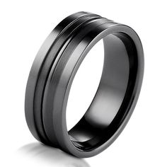 Black Titanium Classic Wedding Band | www.weddingbands.com | @Judy Clark Bands