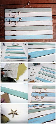 Easy Paint Stick Flag Wall Decor Ideas | Weathered Paint Stick Beach Flag by DIY Ready at http://diyready.com/paint-stick-diy-projects/