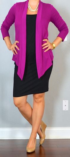 outfit post: black jersey pencil skirt, black tank top, pink drapey cardigan, nude wedges. I pretty much already own this so there's no reason I can't put this together!