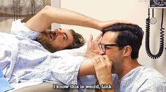 Rhett McLaughlin and Link Neal / Rhett & Link. Brosectomies. Just another reason why I love them. Seriously, bff goals! Link Gif, Good Mythical Morning, Lifelong Friends, Bff Goals, Markiplier, Phan, Awkward, Comedians, Just In Case