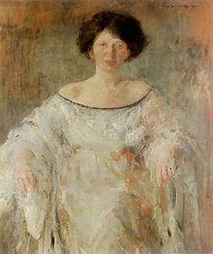 Olga Boznańska  Kraków 1865 - Paryż 1940 Portret młodej kobiety w bieli  1912. Olej na tekturze. 113 x 88 cm.   Muzeum Orsay w Paryżu.