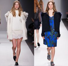 Vanessa Bruno 2014-2015 Fall Autumn Winter Womens Runway Looks - Paris Fashion Week Prêt à Porter Défilés - Denim Jeans Trucker Jacket Skirt Frock Multi-Panel Lace Tweed Bomber Jacket Sequins Quilted Wool Knit Sweater Jumper Dress Camouflage Animal Jungle Safari Leopard Outerwear Trench Coat Side Pockets Harness Shorts Motorcycle Biker Turtleneck Fish Scales