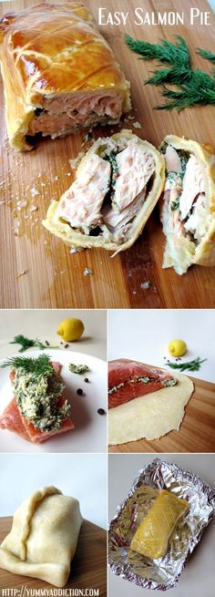 This salmon pie is crispy on the outside and so moist and flavorful on the inside | http://YummyAddiction.com