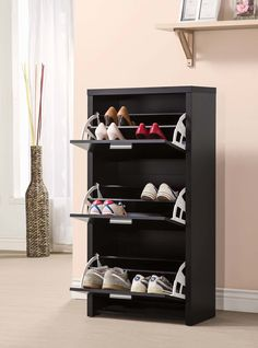 Transitional Black Shoe Rack by Coaster. Get your Transitional Black Shoe Rack at Midtown Outlet Home Furnishings, Anniston AL furniture store. Entryway Cabinet, Entryway Shoe Storage, Diy Shoe Rack, Shoe Storage Cabinet, Entryway Organization, Organization Ideas, Storage Units, Drawer Storage, Front Door Shoe Storage