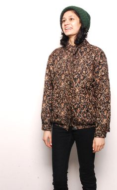 VERSACE baroque print 80s 90s GOLD SILK black lightweight jacket. $58.00, via Etsy.