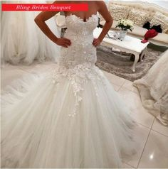 Mermaid Wedding Dress with Corset Back at Bling Brides Bouquet online Bridal Store  #BlingBridesBouquet