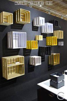 40 New Ideas Retail Lighting Design Shelves Cafe Design, Store Design, House Design, Display Design, Deco Restaurant, Restaurant Design, Crates On Wall, Wooden Crates, Cafe Interior