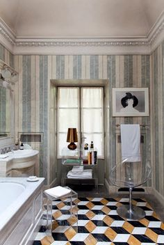 The bathroom in the Milanese home of Claudio Luti, president of Kartell