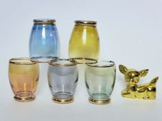 Rainbow Harlequin Shot Glasses Set of 5 Mid Century Barware by EdenKitsch Painting Trim, Mason Jar Wine Glass, Shot Glasses, Glass Collection, Kitsch, Barware, Shots, Mid Century, Buy And Sell