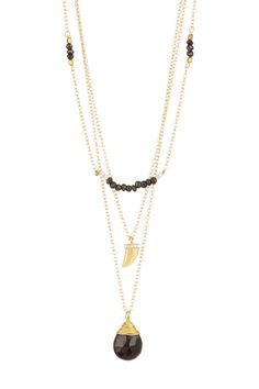 Teardrop, Claw, & Bead Triple Row Layer Necklace by Nakamol Design on @nordstrom_rack