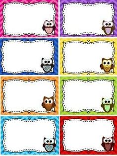 Name Tags / Blank Labels - Owls and Chevron Theme - FREE: