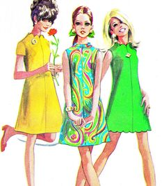 1960s Dress Pattern Simplicity 7635 Mod A Line Day Evening Dress Scalloped Hem Neck Womens Vintage Sewing Pattern Bust 34 I made this - often - in high school. So MOD