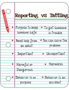 Reporting vs. tattling...I need this in my gym! LG