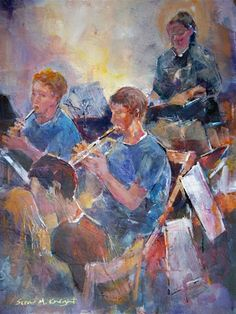 Orchestra & Music Collection - Wind Section of Youth Orchestra (students) Painting by Horsell Woking Surrey Artist Sera Knight