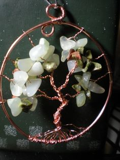 Copper Tree Of Life  Wire Wrapped Aventruine Chips  by CJsSparkles, $35.00