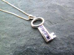 Sterling Silver Amethyst Set Key Pendant by TripleMoonStar on Etsy, £20.00