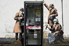 """Spy Booth"" by Banksy in Cheltenham, England"