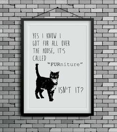 funny cat art cat print wall decor cat lover gift by DIGIArtPrints