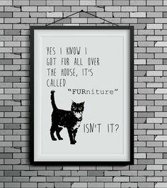 funny cat art cat print wall decor cat lover gift by DIGIArtPrints