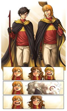Harry Potter, Ron Weasley, Ginny Weasley, Hermione Granger, and I assume Lavender Brown Harry Potter Ron Weasley, Harry Potter Anime, Harry Potter Fan Art, Harry Potter World, Estilo Harry Potter, Gina Weasley, Mundo Harry Potter, Harry And Ginny, Harry Potter Universal