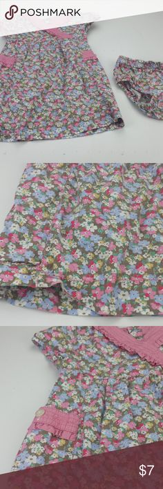 """SZ 18 M floral dress diaper cover Q9 Genuine Kids Girls 18 month Brown pink multicolored floral dress diaper cover Q9  Size: 18 month Color:   multicolored  Material: 100% cotton Armpit to Armpit: 10"""" Top of Shoulder to Bottom:  18"""" *Measurements are approximate Color may differ slightly than pictured!  Everything is in Excellent used condition, unless stated otherwise. Feel free to ask any questions you may have!Thanks for looking, and feel free to check out my other listings!! genuine kids…"""