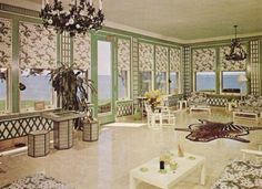 Sunroom with green treillage. From Land's End estate Sands Point NY the inspiration for Great Gatsby. Reminds me of Schraffts when I was a kid.