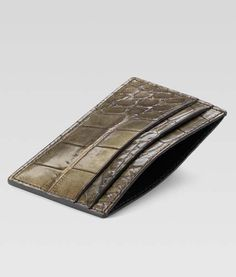 Handmade Leather Wallet, Leather Wallets, Military Green, Card Case, Crocodile, Card Holder, Gucci, My Style, Men