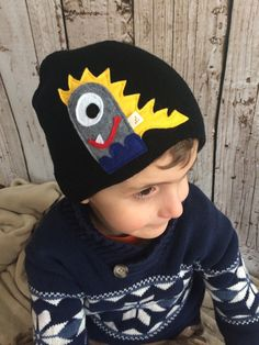 My Friendly Monster Black Child/ Youth Knit Hat by letterbdesigns on Etsy https://www.etsy.com/listing/225228874/my-friendly-monster-black-child-youth